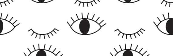 blinking eyes b/w illo