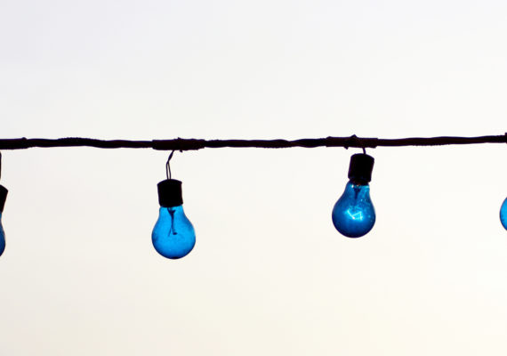blue lights along electrical wire