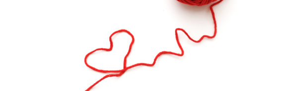 red thread makes heart shape