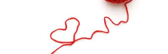 red thread makes heart shape
