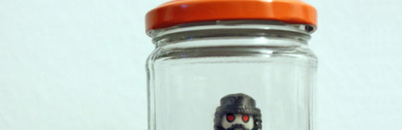 LEGO figure in a jar