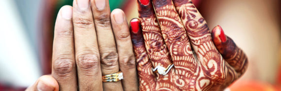 bride and groom with mehndi