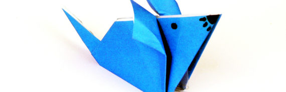 blue origami mouse