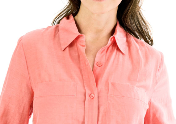 woman in pink shirt