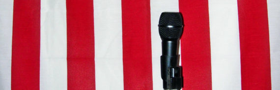 microphone in front of flag