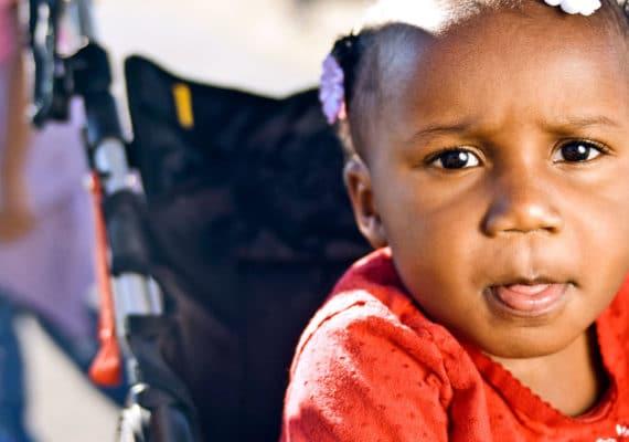 toddler in stroller