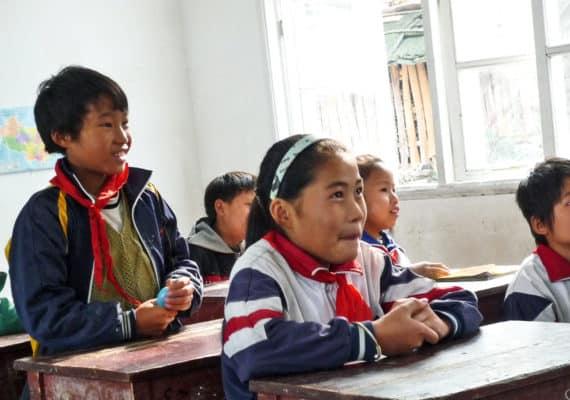 Chinese village kids in school