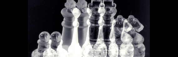 chess pieces in bw