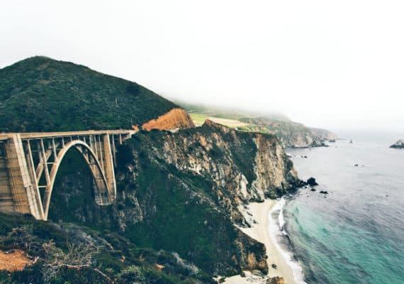 Monterey Bay bridge and ocean
