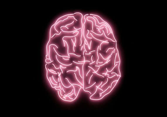 pink neon brain