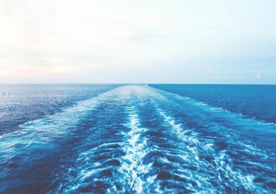 ship's wake on the ocean
