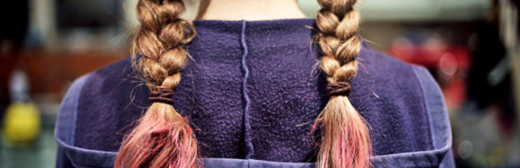 braids dyed pink and purple hoodie
