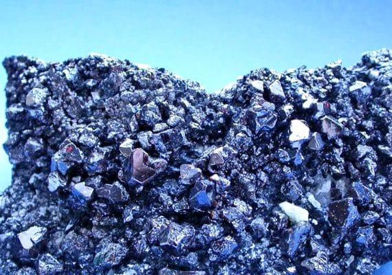 pyrochlore sample on blue