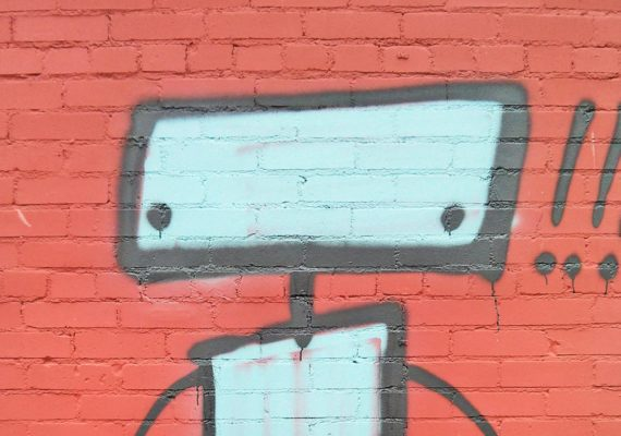 robot on red wall