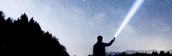 person, flashlight, starry sky