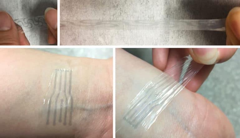 electrode pattern on polymer on skin