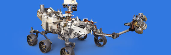 Mars 2020 rover on blue