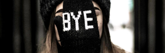 """bye"" mitten on face"