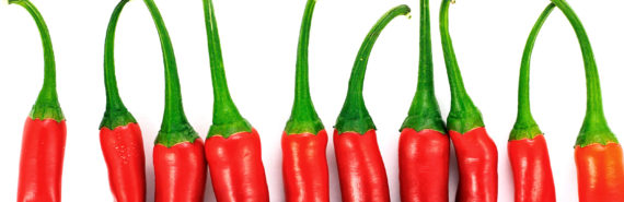 red chilis in a row