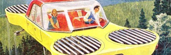 retro flying car illustration
