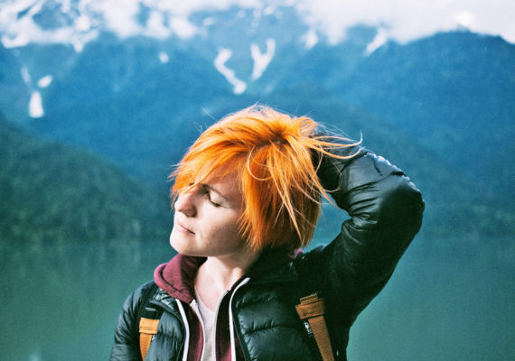 hiker with orange hair