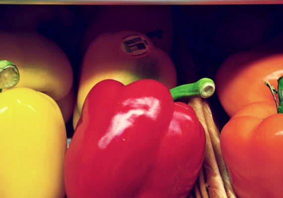 bell peppers on shelf