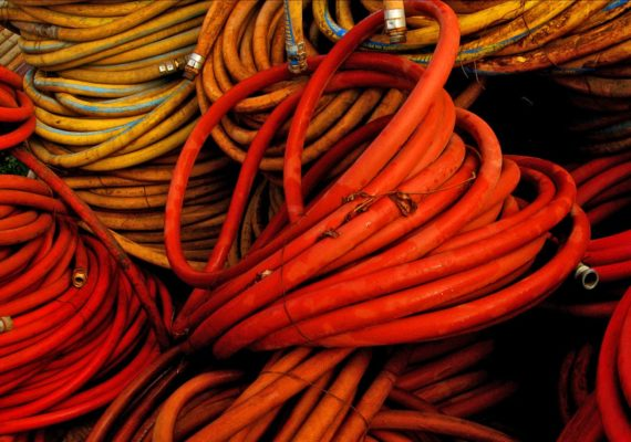 old red hoses
