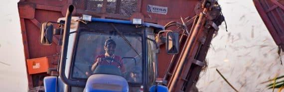 sugarcane harvesting truck