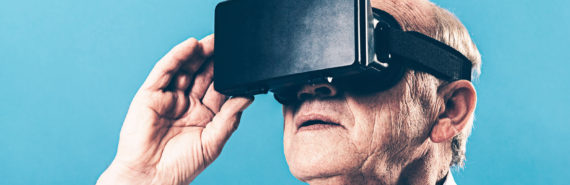 virtual reality headset on older man