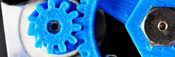 3D-printed blue gears