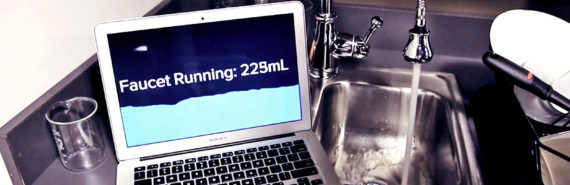 Synthetic sensor package detects faucet running