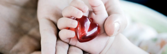 baby holding heart in hand