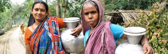 women with water jugs in Bangladesh