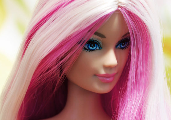 ominous barbie with pink hair