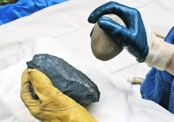 flintknapping with gloves