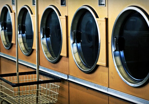 laundromat with orange machines