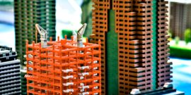 Small city model made of building blocks