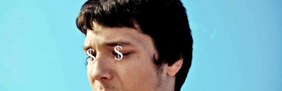 man with dollar signs on his eyes