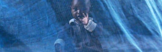 baby behind mosquito net
