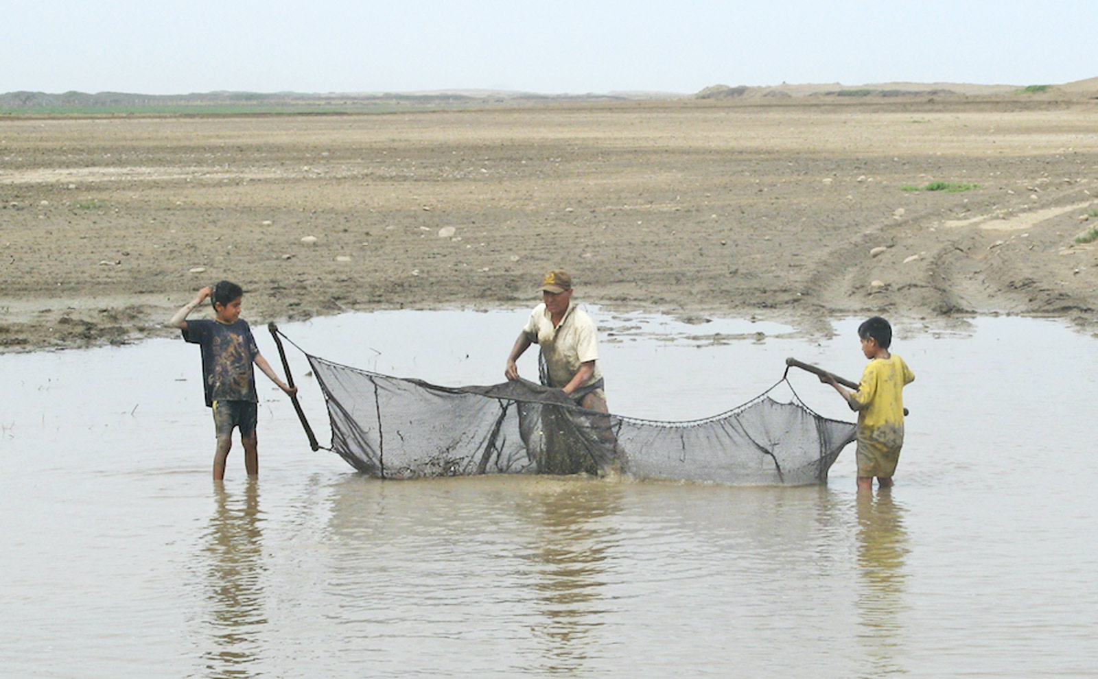 net fishing after storm