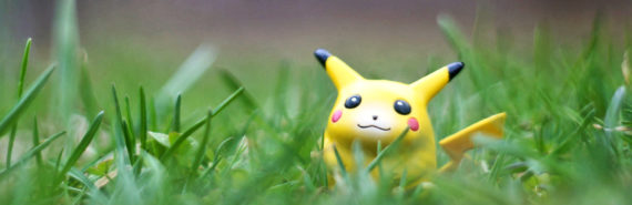 pikachu toy in grass