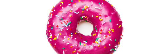 pink doughnut on white