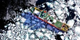 icebreaker ship in icy sea