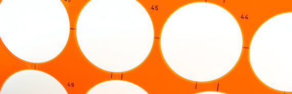 orange stencil on white