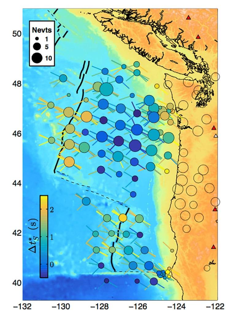 map of Cascadia measurements