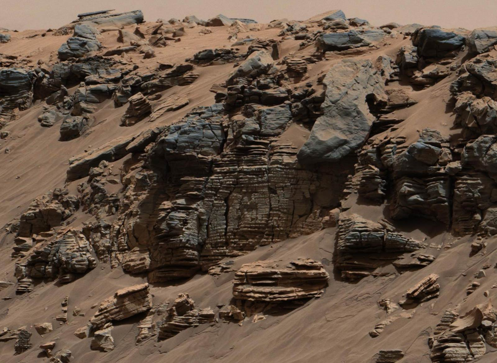 A shot of sedimentary rocks on Mars