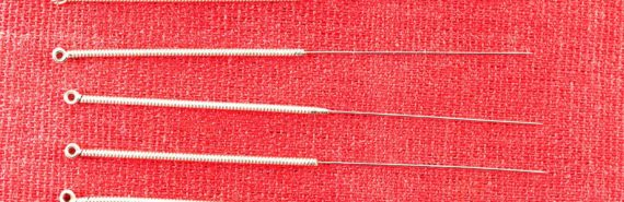 acupuncture needles on red