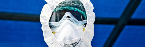 man in Ebola safety gear