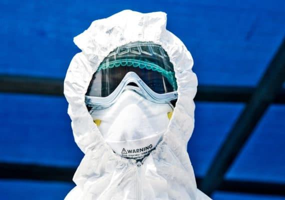 man in Ebola safety gear