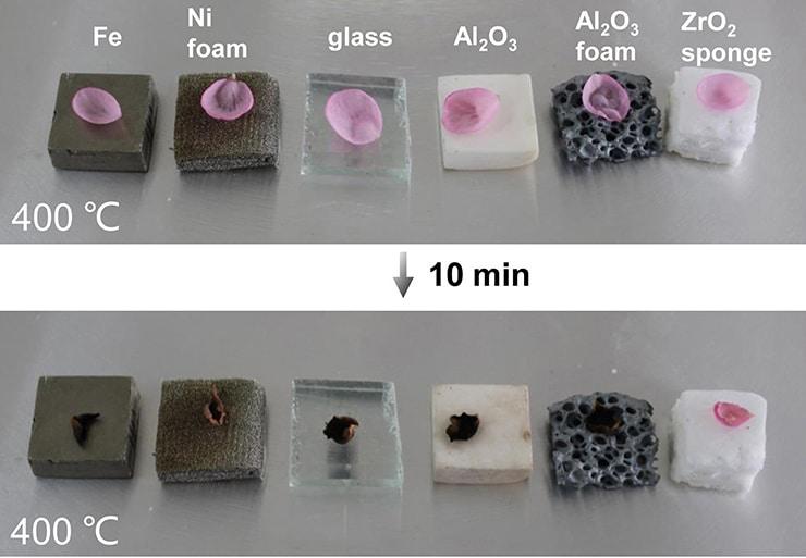 flower petals heat test for ceramic nanofiber sponge